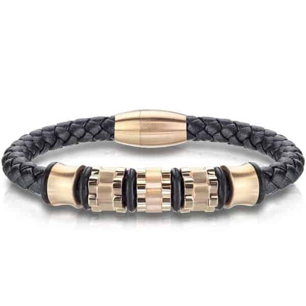 Guld og læder armbånd til mænd